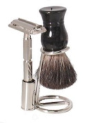 Shaving Set - 3pc. W/ Butterfly Top Safety Razor and Black Brush