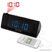 Electrohome USB Charging Alarm Clock Radio with Time Projection, Battery Backup, Auto Time Set, Dual Alarm, 3cm LED Display for Smartphones & Tablets