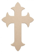 15cm X 10cm Fleur De Lis Wood Cross Unfinished DIY Extra Small Wooden Craft Cutout to Sell Stacked Crosses