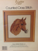 Vintage 1986 Golden Bee - Brown Stallion Picture - Counted Cross Stitch Kit - 30cm x 30cm