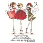 Stamping Bella Uptown Girls The 3 Amiga's Cling Rubber Stamp, 17cm x 11cm