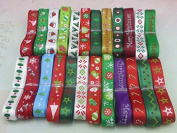 "12yards 3/8"" 10mm Random 12 Styles Printing Grosgrain Christmas Ribbon"