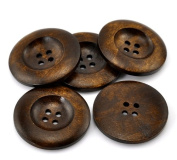 PEPPERLONELY Brand 20PC Dark Brown 4 Hole Scrapbooking Sewing Wood Buttons 35mm