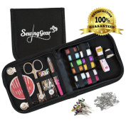Compact Sewing Kit for Home, Travel, Camping & Emergency. Best for Beginners, Kids, Girls, Boys & Adults. Professional Premium Sew Supplies Set - Perfect Gift with Extra 50 Pins and 50 Safety Pins.