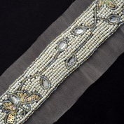 Rhinestone Beaded Trim, Wedding Trim for Wedding Decoration, home decor, craft projects by 1 yard, OSB-31218