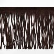 15cm Long Faux Suede Fringe Trim by Yard, Brown, EXP-IR6640
