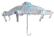 90cm White Lace Baby Babies Shower Umbrella Pink & Blue Storks & Pacifiers