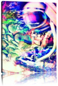 Space trippin canvas picture painting on canvas, huge XXL Pictures completely framed with stretcher, art print on wall picture with frame, cheaper than painting or an oil painting, not a poster or billboard, size
