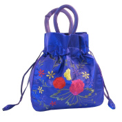Embroidered Purple Dolly Bag - Large
