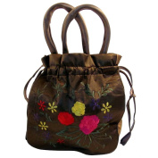 Embroidered Brown Dolly Bag - Large
