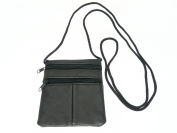 Small Soft Patchwork Leather Neck Purse / Pouch / ID Holder - 2 Zipped Compartments - 1 Transparent Window