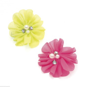 2 PIECE NEON FLOWER BEAK FORK CLIP SET WITH PEARL & DIAMANTE CRYSTAL CENTRE