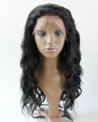 Sexyqueenhair 7A Malaysian Human Hair Natural Body Wave Lace Front Wig #1B 36cm