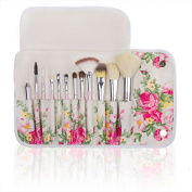Professional 12 Pcs Makeup Cosmetics Brushes Set Kits with Rose Pattern Case (Pink Handle), Pink Handle