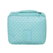 Yiuswoy Casual Portable Waterproof Travel Cosmetic Bag Storage Toiletry Bag Makeup Bag - Light Blue/Polka Dot