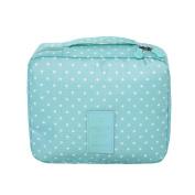 Yiuswoy Casual Portable Waterproof Travel Cosmetic Bag Storage Toiletry Bag Makeup Bag - Light Blue/Polka Dot