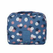 Yiuswoy Lovely Portable Waterproof Travel Cosmetic Bag Makeup Bag Storage Toiletry Bag - Blue/Flower