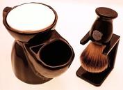 Black Pottery Shaving Mug, 660S Super Badger shaving brush & dripstand