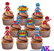 PARTY PACK - 36 X Super Hero SuperHeroes Captain America & Flash Gordon Mix EDIBLE WAFER CUP CAKE TOPPERS STAND UP STANDUPS