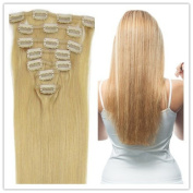Sexyqueenhair Full Head Clip in Human Hair Extensions High Quality Remy Hair 100g/set 7Piece 41cm Blonde Colour