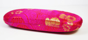Magenta Floral Silk Embroidery, Decorative Glasses Case