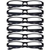 6 PRS of Southern Seas Stylish Black +3.50 Reading Glasses Mens Womens Flexible Spectacles