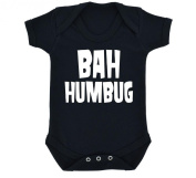 Funny Bah Humbug Design Baby Bodysuit Black with White Print