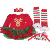 Anik Sunny Baby Girls' Christmas Deer Festivel Costume Party Dress Clothes Tutu Skirt 4Pcs Legging Warmer +shoes+Headband