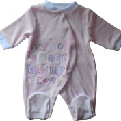 Newborn NB months - Baby Girls Gorgeous Pink Ive Got The Best Mummy Ever Velour Sleepsuit Onesie