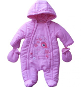 3-6 months - Baby Girls Gorgeous Pink Woodlands Deer Hooded Snowsuit and Mittens Outfit