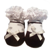 Baby Girls Cute WHITE Frill Black Shoe Design Socks With Silver Polkadots - Suitable From Newborn