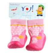 OB-002 Children's Slipper Socks with Rubber Soles, Pink Dots Size 5