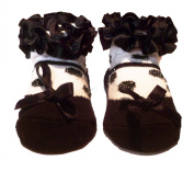Baby Girls Cute Black Frill Shoe Design Socks With Silver Black Polkadots - Suitable From Newborn