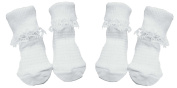 Baby Girls Cute 2 PACK of White Socks With Lacey Frill (UK 0-0