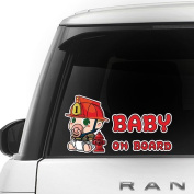 6 Languages - FIREFIGHTER BABY ON BOARD - Full Colour Car Window Safety Sign Decal Sticker