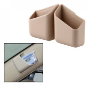 Possbay Car Storage Organiser Auto Glasses Box Mobile Phone Pocket Card Bag Debris 2PCS Beige