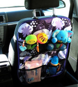 CAR BACK SEAT ACCESSORIES KIT organiser. PROTECTOR WITH POCKETS Flowers Violet White