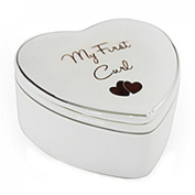 Leonardo Heart-Shaped First Curl Box New Baby Christening Gift for Girl or Boy White Fine China