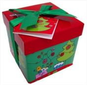 MaSaYa Classic Collection Folded GIFT BOX with Lid and Bow (xs) - RED/GREEN XMAS TREE
