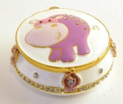 Pewter Enamel Tooth Trinket Box - Pink Hippo