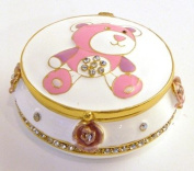 Pewter Enamel Tooth Trinket Box - Pink Teddy Bear