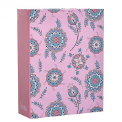Arpan 15cm x 10cm Small Shabby Chic Pink Floral Photo Album Case for 100 Photos - Ideal Kids Album