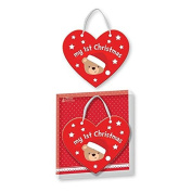Baby's 1st Christmas Heart Shaped Plaque with Ribbon hanger