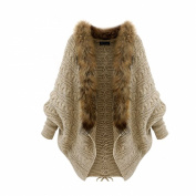 Arrowhunt Women's Batwing Sleeve Cardigan Cloak Fur Collar Sweater Cape