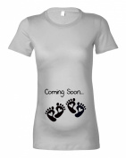 Women's Maternity 'Coming Soon...Twins Baby Feet' T-Shirt