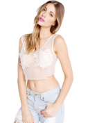 Wink Gal Women's Mesh Embroidered Floral Short Crop Top