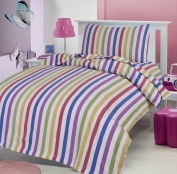 CANDY STRIPE 100% BRUSHED SOFT COTTON THERMAL FLANELETTE SHEET SET FITTED FLAT & PILLOWCASES COT BED/ TODDLER BED 70 X 140 CM - VALUE PACK - 2 SETS