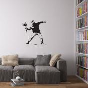 Banksy Man Throwing Flowers Vinyl Wall Art Decal