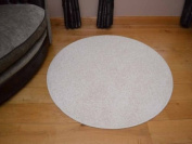 Plain Round Circular Cream Shaggy Pile Rug. Different Sizes Available ... (66cm Diameter