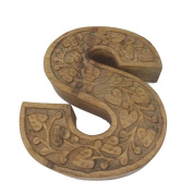 Indianstore S Sign Antique Wooden Material Alphabet Handicraft Wall Hanging Vintage Style S Alphabet